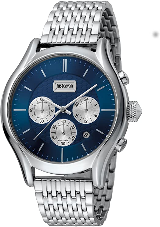 Just Cavalli Mens Chronograph Quartz Watch with Stainless Steel Strap